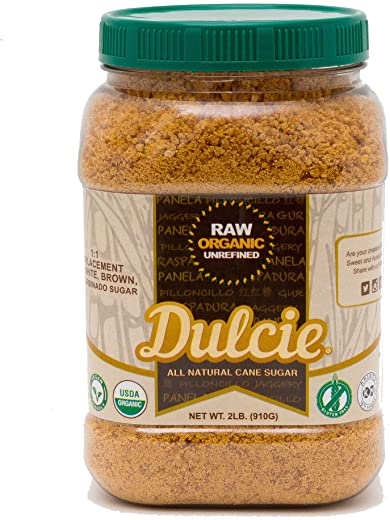 Dulcie Organic Raw Unrefined Natural Pure Cane Sugar (2 LB Jar) - Gluten Free, Vegan and Non-GMO