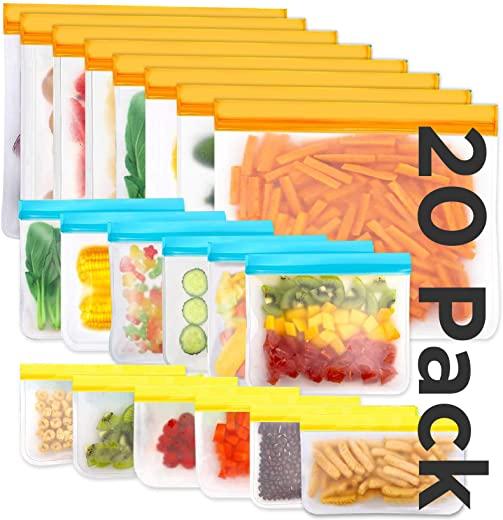 Reusable Storage Bags, 20 Pack BPA Free PEVA Resuable Freezer Bags, Reusable Gallon Bags, Reusable Sandwish Bags, Silicone Food Bags (20Pack-8Gallon Bags +6Sandwich Bags +6Snack Bags)